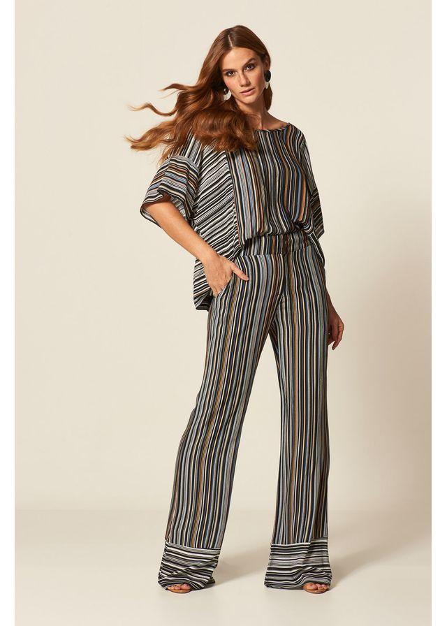 bdad09d90 Calça Pantalona Estampa Basic Stripes ...