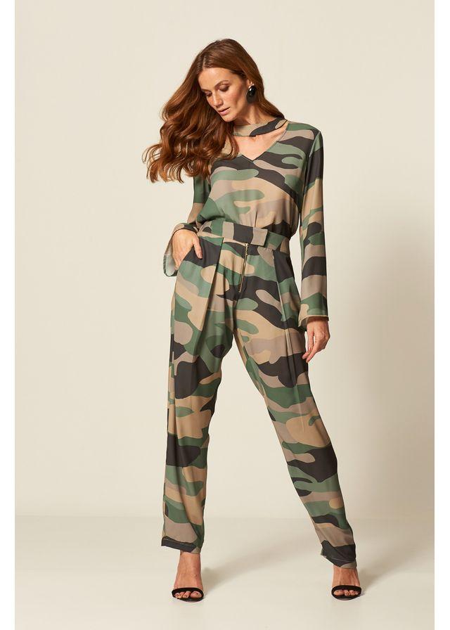 dc32a5b9fe3 Calça Chiffon Estampa Camouflage ...