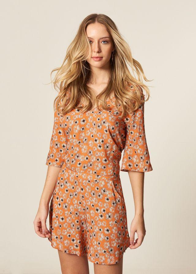 Blusa Estampa Floral Thai Com Amarração