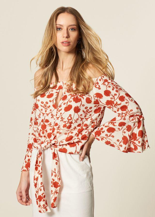 Blusa Estampa Cotton Flowers Amarração