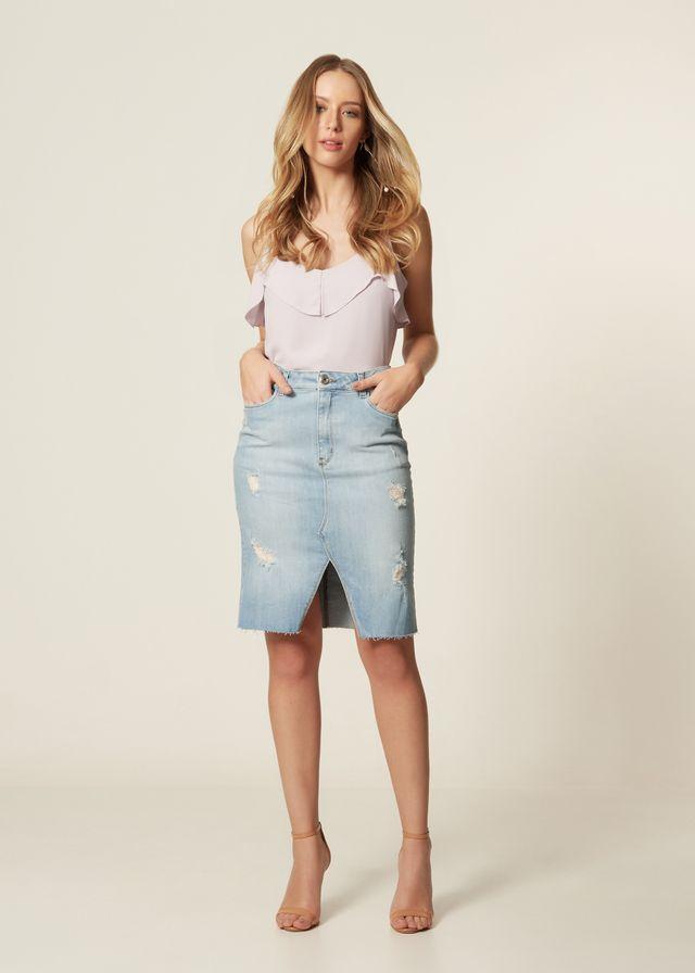 Saia Lápis Jeans Fenda Puídos