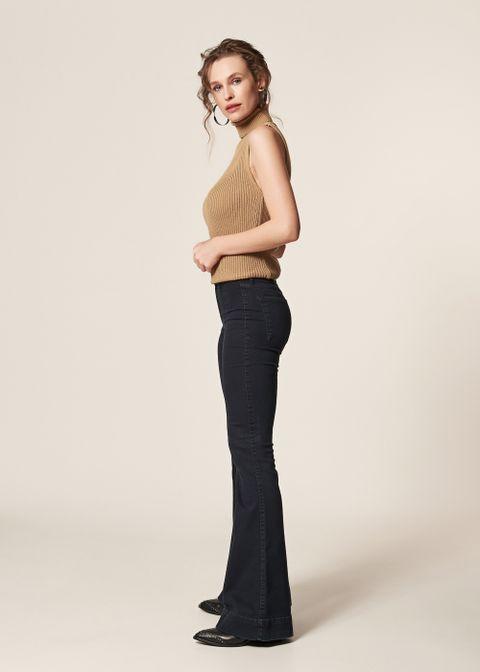 8cf0bdc4b4 Calça Jeans Flare Recorte Frente Calça Jeans Flare Recorte Frente