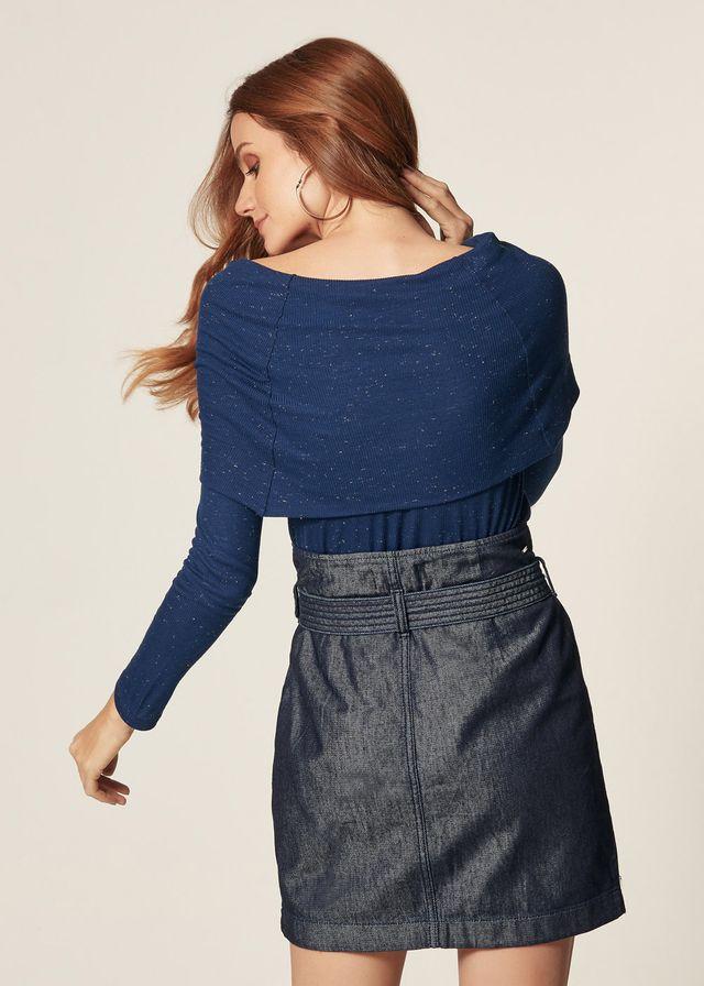Saia Jeans Zíper Frontal