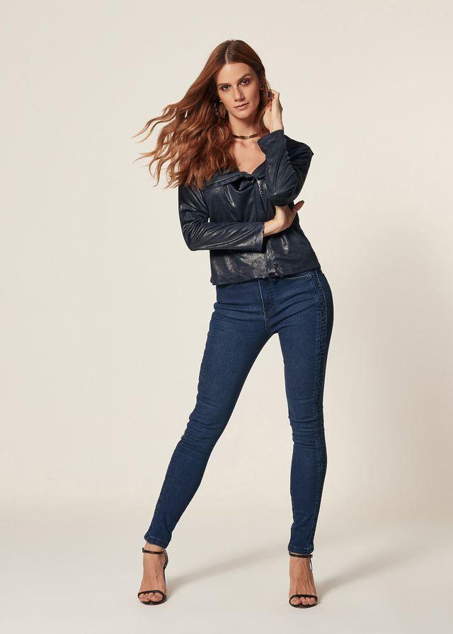 Calça Jeans Skinny Nervura Lateral