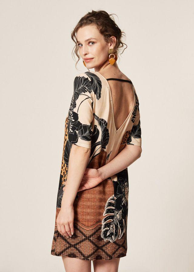 Vestido Estampa Kalahari Bolso Frontal